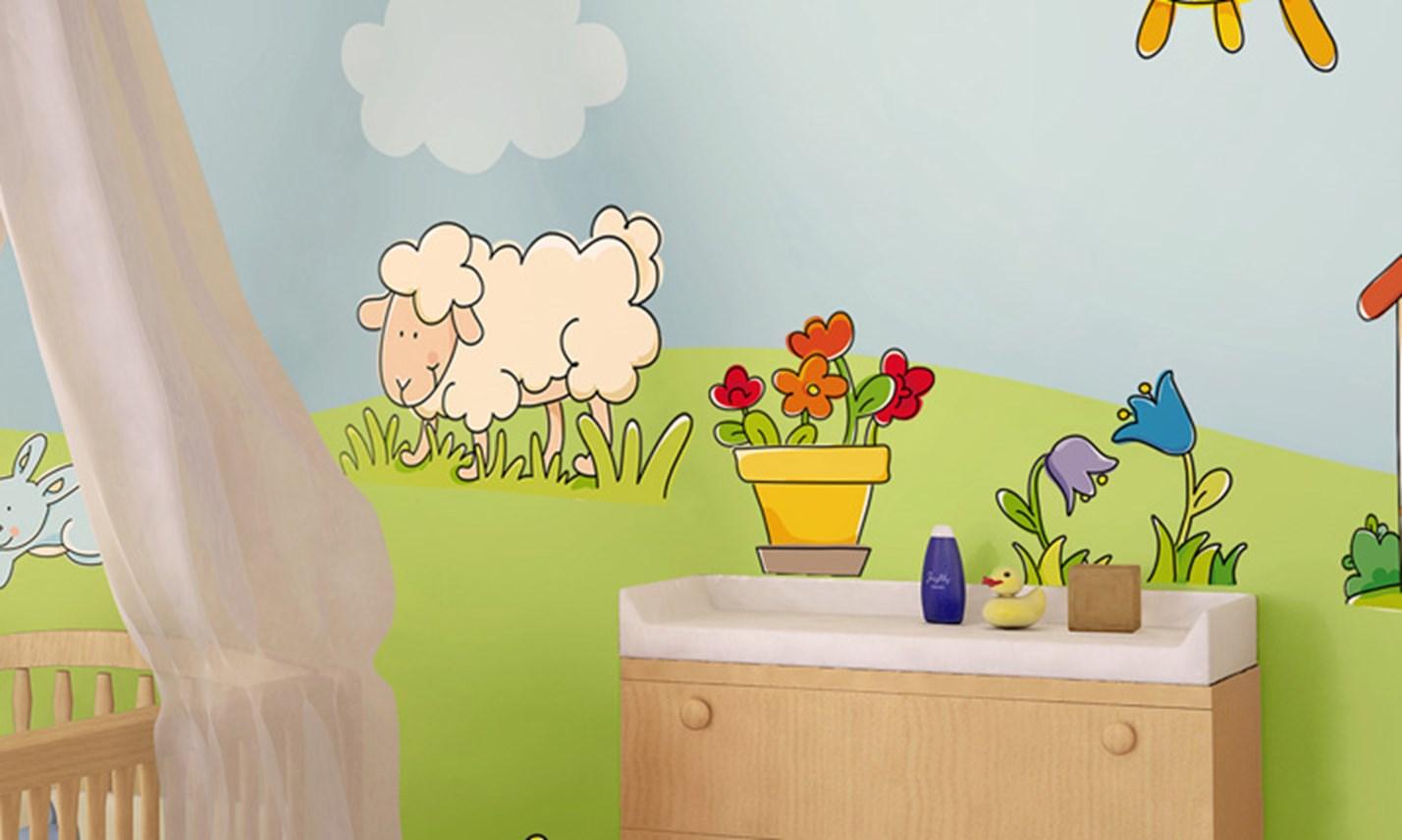 Stickers murali bambini cameretta benvenuti in campagna - Adesivi murali per camerette bimbi ...